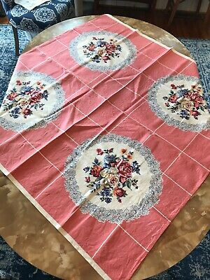 Vintage Retro Linen Tablecloth, Floral Print, Pink & Blue, Square, 48 x 48