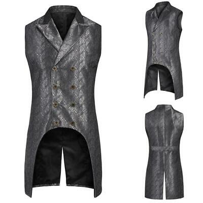 Men Fashion Turn Down Collar Sleeveless Jacquard Floral Gothic Waistcoat BTL8