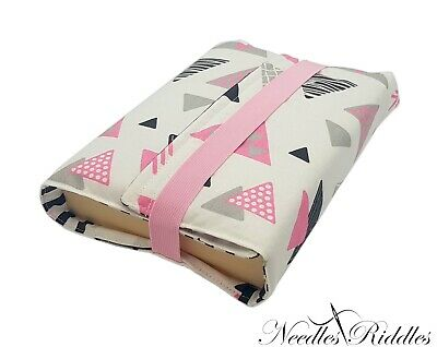 HANDMADE Re-usable Fabric Book Cover Protector PINK TRIANGLES !FREE P&P!!