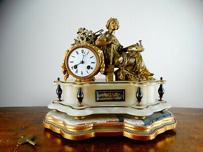 Antique Victorian French Gilt Figural Striking Mantel Clock of Railway Interest