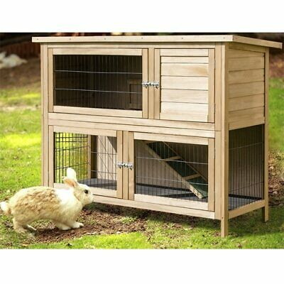 "52"" Outdoor Garden Backyard Wooden Rabbit Hutch Cage Small Pet Chicken  Animal"