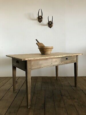 Antique French Country Farmhouse Rustic Kitchen Dining Table