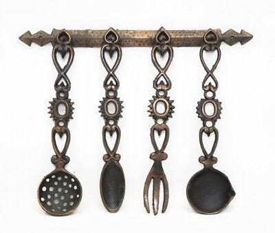 Vintage Set 4 of Cast Iron Copper Slotted Spoon, Spoon & Fork Wall Hanging Rack