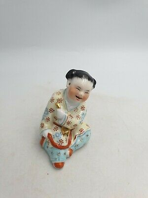 Vtg Chinese Porcelain Sitting Smiling Boy Child Yellow Top Figurine Handpainted
