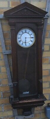 Antique Vic Oak Hanging Wall Vienna Clock Lenzkirch Single Weight Regulator