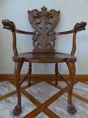 Carved Serpent / Gargoyle / Griffin / Dragon Chair, Attributed To R.j. Horner