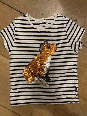 Jojo Maman Bebe Girls Sequin Fox Tshirt 3yrs
