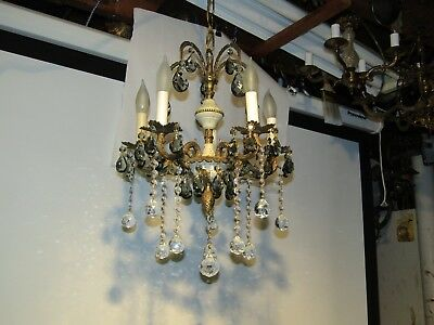 Antiques Chandeliers Vintage Brass Chandeliers Exc. Smokey Quartz Crystals Rare!