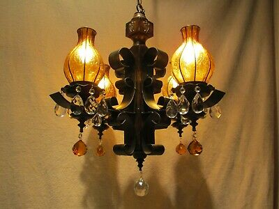 Medieval Vintage  Wrought Iron Chandeliers Antique Amber Stained Glass Lrg Rare