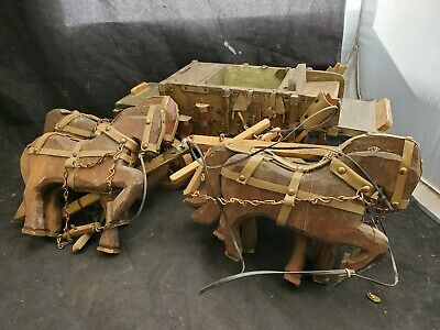 """Antique Folk Art Hand Carved Wood Horse fire Wagon 36"""" large unknown Rare"""