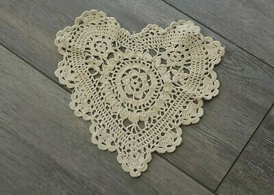 8 Inch Beige Heart Shaped Crochet Lace Doilies 12 Count
