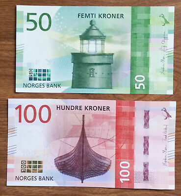 ***Lot of 2 Norway 50 and 100 Kroner Uncirculated UNC Banknotes currency***