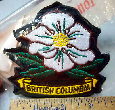 British Columbia Canada Embroidered Patch, Colorful Flower collectors item