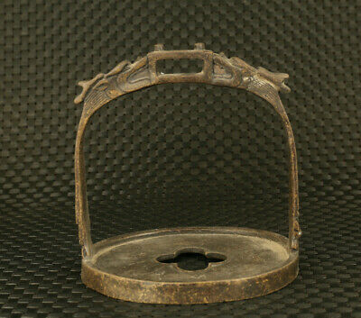Fine Chinese old bronze hand casting dargon statue stirrup collectable gift