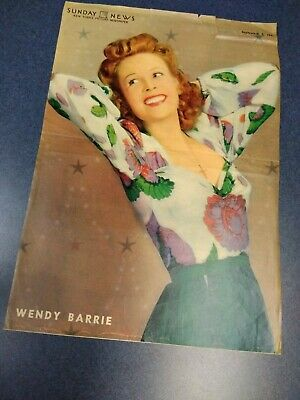 "Sunday News Cover Only September 7 1941 Wendy Barrie 15 1/4"" x 10 3/4"""