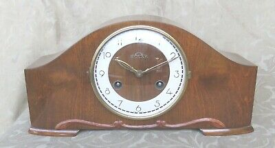 Franz Hermle Solar Germany 8 Days Chime Walnut Wind Up Mantel Clock Excellent