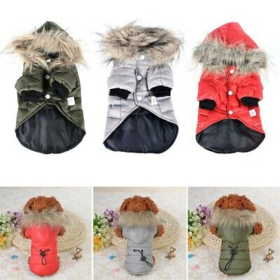Winter Warm Padded Dog Coat Jacket Chihuahua Pet Clothing Cat Puppy Hoodie A2499