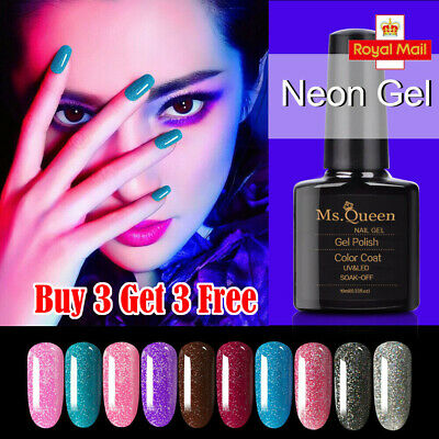 MS.QUEEN Starry Glitter Neon Gel Polish No Wipe Top Base Coat Lacquer Manicure