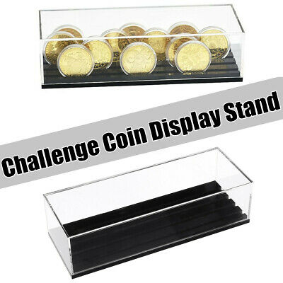 4 Rows Acrylic Challenge Coin Display Stand Rack Collection Storage Coins Holder