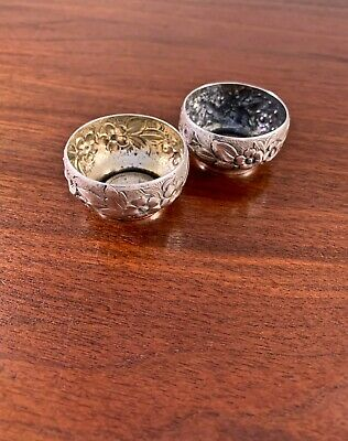 (2) Whiting Mfg Co. Sterling Silver Repousse Salt Cellars: Pattern #3551A