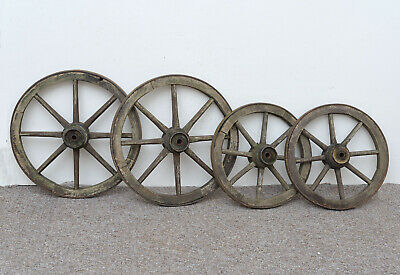 set of 4 vintage old wooden cart carriage wagon wheels wheel - 33.5 cm / 41 cm