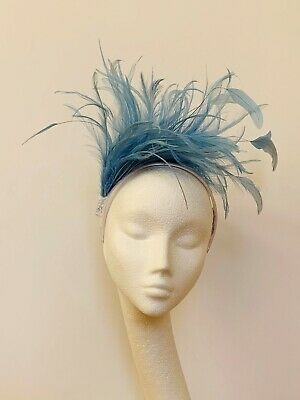 light blue feather Fascinator Hat Headband Headpiece Wedding Ascot Derby Races