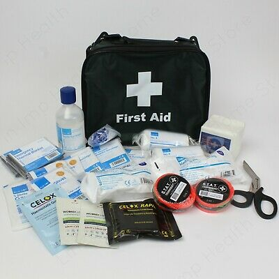 Catastrophic Bleed First Aid Kit in Green Grab Bag. Multi Person Bleed Control.