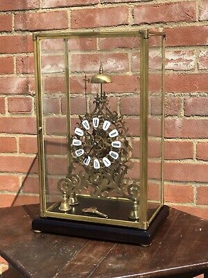 Skeleton Clock Cathedral Shape Chain Fusee Under Glass Case. Chimes On A Bell