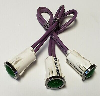 """Leecraft 28V 40mA Green Incandescent Snapfit Indicator 6/"""" wire Leads 1//2/"""" Round"""