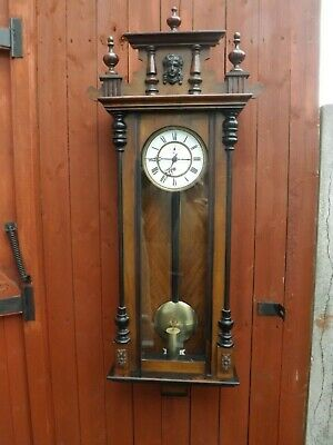 Rare And Unusual Viennese Walnut Single Weighted Kinzle Wall Clock
