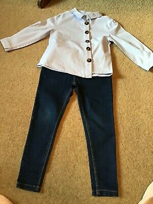 Bnnt Lovely Girls Small Bundle (2) Items Blue Blouse & Skinny Jeans Age 5 Years