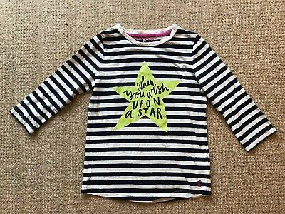 Girls Top By Joules. Shire To Shore, Navy/white Striped With Star Print Age 9-10
