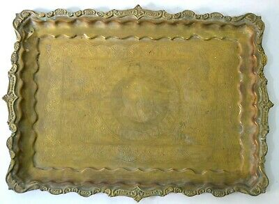 Vintage Brass Egyptian Decorative Tray It Features Ancient Pharaonic Drawings Ha