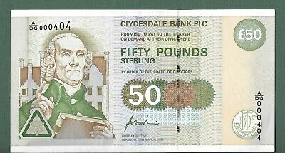 £50 Clydesdale Bank PLC Dated 22nd March 1996 LOW Number A/BG 000404 F Goodwin