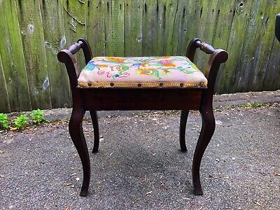 Antique Piano Stool With Embroidered Or Cross Stitched Seat.
