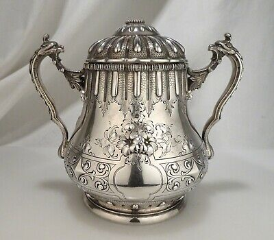 Antique 1860s Ball Black & Co 950 Sterling Silver Sugar Bowl  - 58638