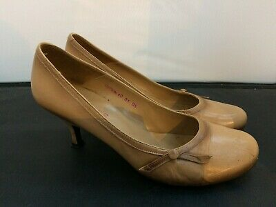 LADIES PRIMADONNA FAUX SUEDE LEATHER LINED WEDGE HEEL COURT SHOES TAUPE UK 2.5-4
