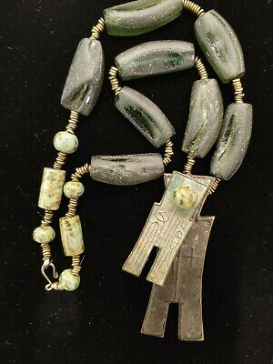 Green Beaded Necklace, Beads from old glass bottles, two bronze figures