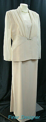 Michaelangelo dress suit gown formal Mother of the Bride champagne 3477 14 L NEW