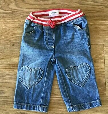 Baby Boden Girls Heart Knee Patch Jeans - Age 6-12 Months