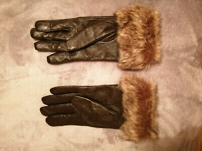 Brown Leather Fur Cuff. Fleece lined Gloves New