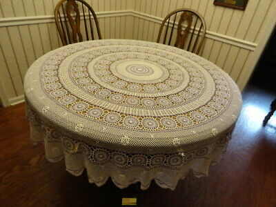 Beautiful Vintage  Lavender & White Round Delicate Crocheted Tablecloth