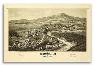 Corinth New York 1888 Historic Panoramic Town Map - 16x24
