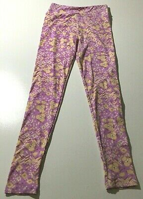 LulaRoe Tween Leggings Purple Yellow Floral Super Soft EUC