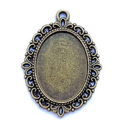 Antique Brass Plated 40x30mm Baroque Oval Cabochon Tray Pendants Q10 per Pkg
