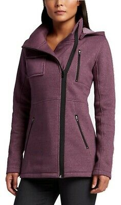 New HURLEY Women/'s Blue Stripe Winchester Button Fleece Hooded Blazer Jacket $59