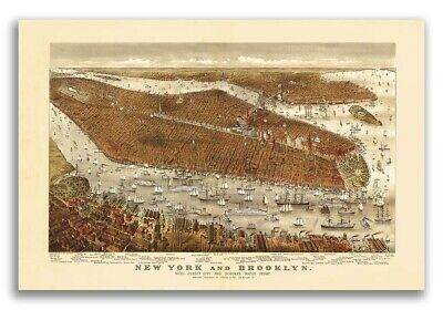 New York City, New York 1877 Historic Panoramic Town Map - 16x24