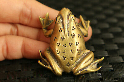 old chinese brass hand casting frog statue collect ornament tea pet noble gift