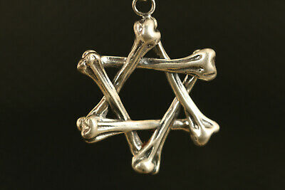 unique old China s925 silver hand carving five-pointed star Pendants collectable