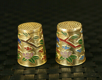 old Chinese cloisonne hang painting pair thimble statue collectable mother gift